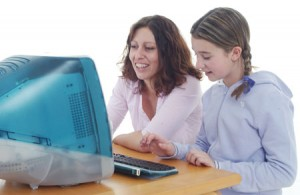 Sharing computer time, carer and child